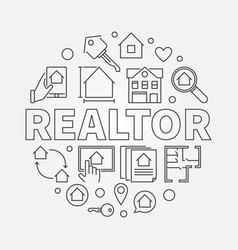 realtor round in thin line vector image