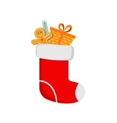 red christmas sock and christmas gingerbread man vector image