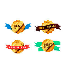 Set different bright golden badges with tapes vector