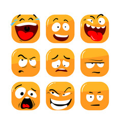 set face expression isolated icons vector image