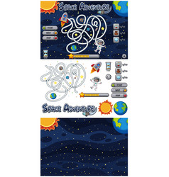 set game template with galaxy background vector image