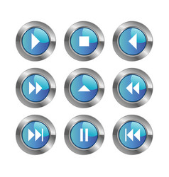 Set icon media player control buttons vector