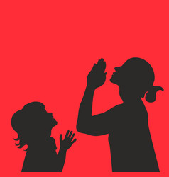silhouette of praying mom and baby vector image