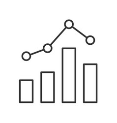 statistics graph line icon on white background vector image