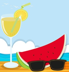 Summer theme with cocktail and watermelon vector