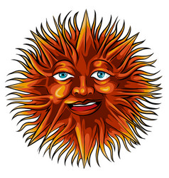Sun with a face in ethnic style astrological vector