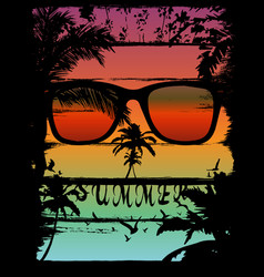 Sunset at tropical beach skull effect vector