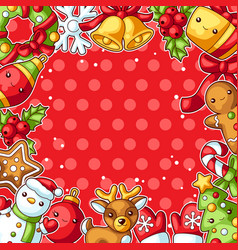 sweet merry christmas decorative frame cute vector image