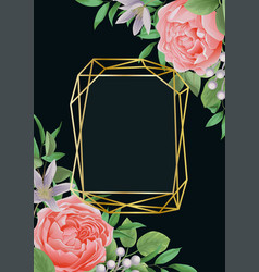 template with flowers and greenery on black vector image