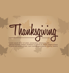 Thanksgiving with autumn background style vector