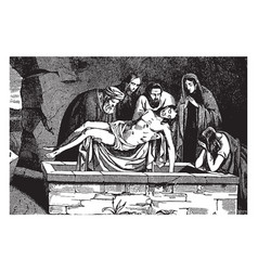the body of jesus is placed in a tomb vintage vector image