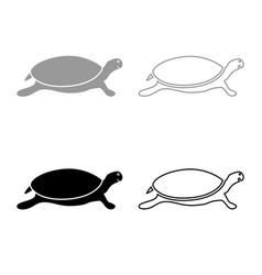 Tortoise turtle icon outline set grey black color vector