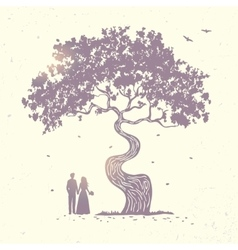 tree silhouette couple vector image