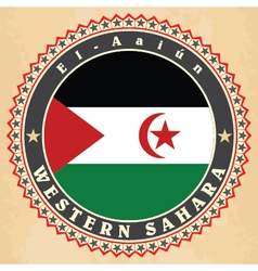Vintage label cards of Western Sahara flag vector