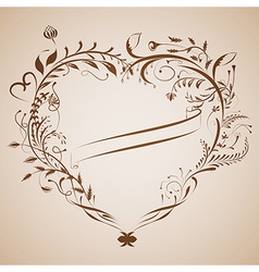 Vintage valentine background with heart frame and vector