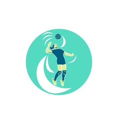 Volleyball Player Spiking High Circle Retro vector image