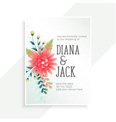 Wedding invitation card with flower decoration vector