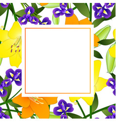 Yellow orange lily and blue iris flower banner vector