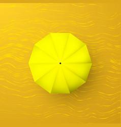 yellow umbrella on sand top view parasol vector image