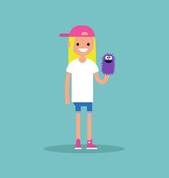 Young female character playing with a hand puppet vector