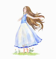 Young girl with her hair danced on the grass vector