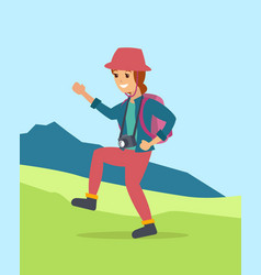 young woman walking hiking in the mountain area vector image