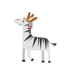 Zebra Wearing Tribal Clothing vector image