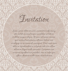 beige baroque damask invitation blank with a place vector image