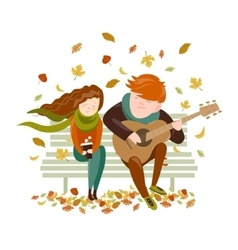 Boy plays guitar for a girl in the autumn park vector image vector image