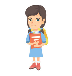 caucasian schoolgirl with backpack and textbook vector image