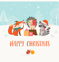christmas woodland friends in winter forest vector image vector image