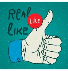 LikeThumbs Up symbol hand drawn vector image vector image