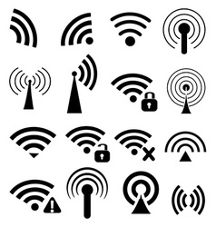 Wireless icons set vector image vector image