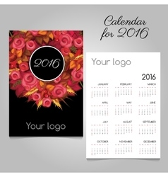 2016 calendar with pink roses space for logo vector