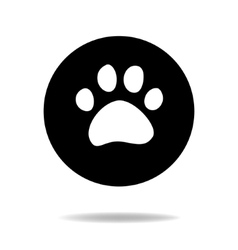 Animal cat or dog paw black and white flat icon vector image