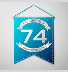 blue pennant with inscription seventy four years vector image vector image