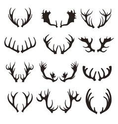 cartoon black silhouette deer horns set vector image