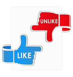 like and unlike stickers vector image vector image