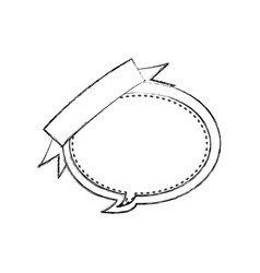 Monochrome blurred contour of balloon dialog box vector