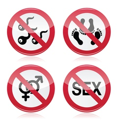 No sex romace red warning sign vector image