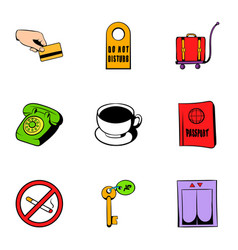 receptionist icons set cartoon style vector image