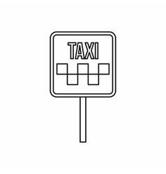 Sign taxi icon outline style vector image vector image