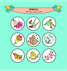 Spring thin line colored icons vector