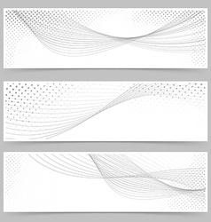 Swoosh line halftone web header collection vector image vector image