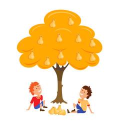 two boys near the tree pear cartoon vector image vector image