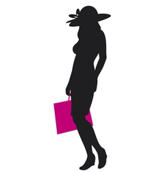 woman silhouette with shopping bag vector image vector image