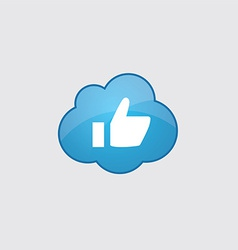 Blue cloud ok icon vector image