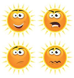 cartoon sun icons emotions vector image vector image