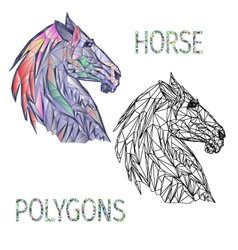 Horse head polygons coloured and outline vector image