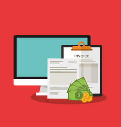 invoice economy related icons image vector image